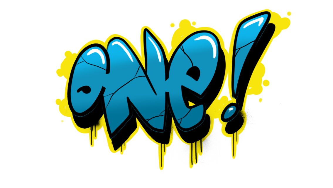 "How to draw ""One"" in simple style Graffiti in 8 steps"