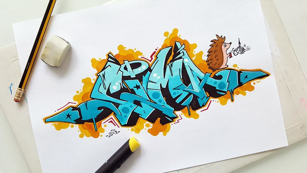 Sima graffiti sketch with hedgehog character
