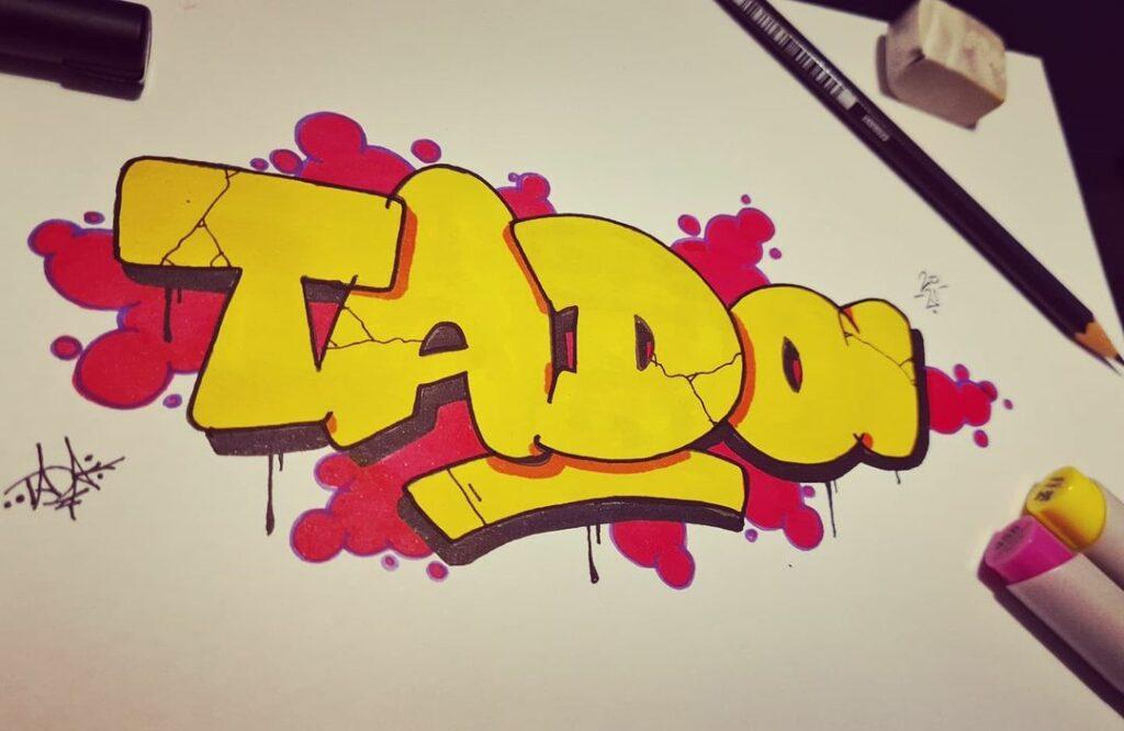 Tada - Simple style yellow graffiti sketch