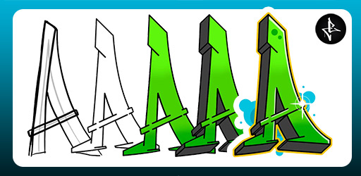 Steps of how to draw a graffiti letter